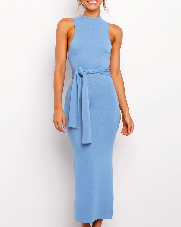 Solid Round Neck Sleeveless Slit Dress