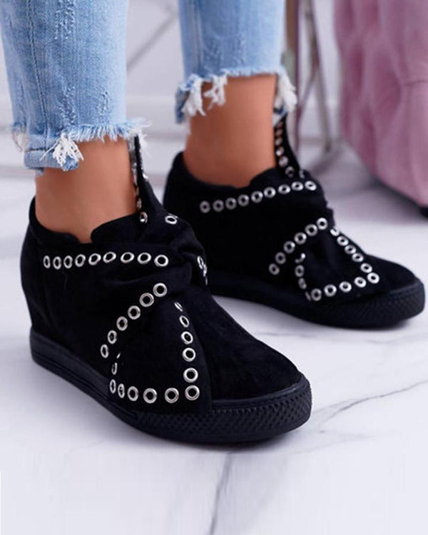 Eyelets Decoration Slip On Sneaker
