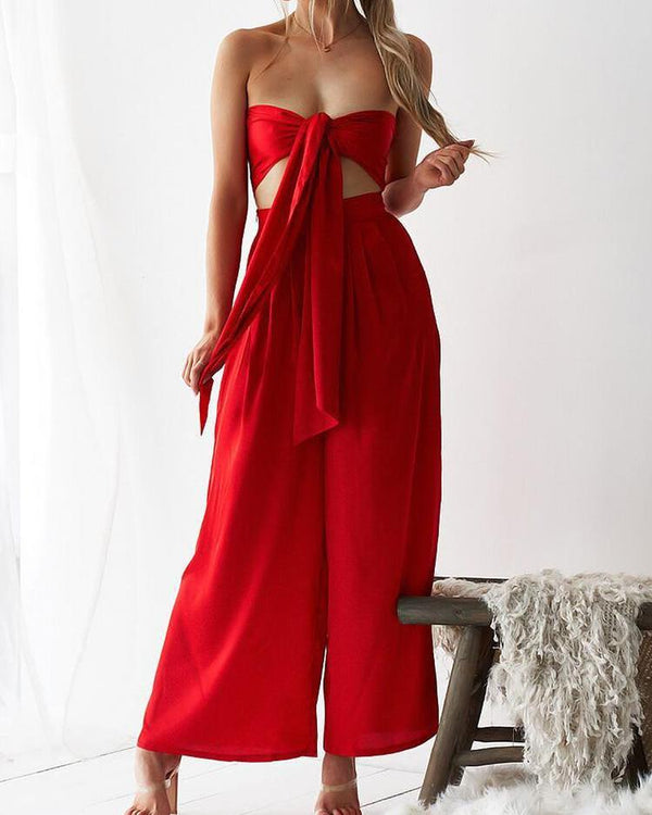 Reversible Crop Top & Wide Leg Pants Set