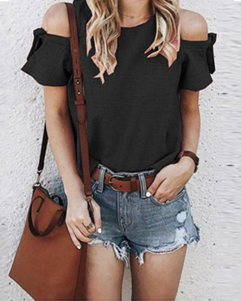 Round Neck Off-shoulder Solid Color Top