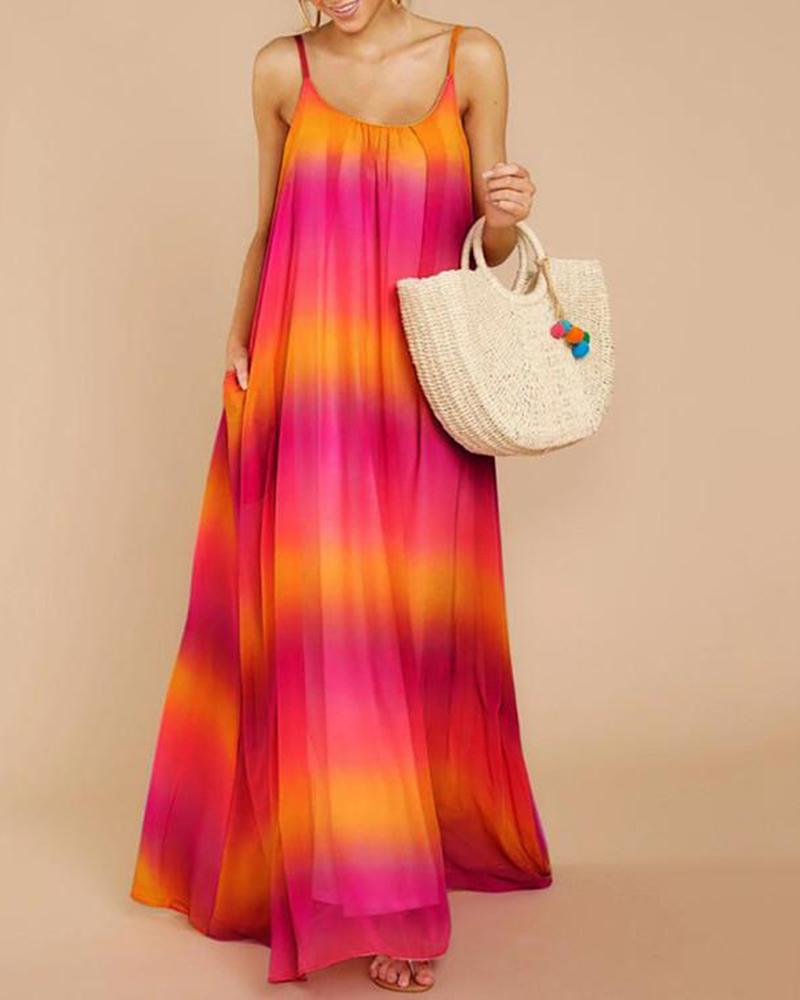 Sexy gradient chiffon sling beach dress