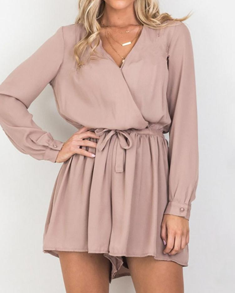 Trendy Shirring Waist Casual Romper