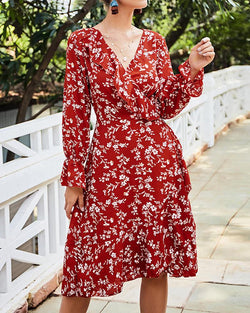 Red V-neck Long Sleeve Print Dress