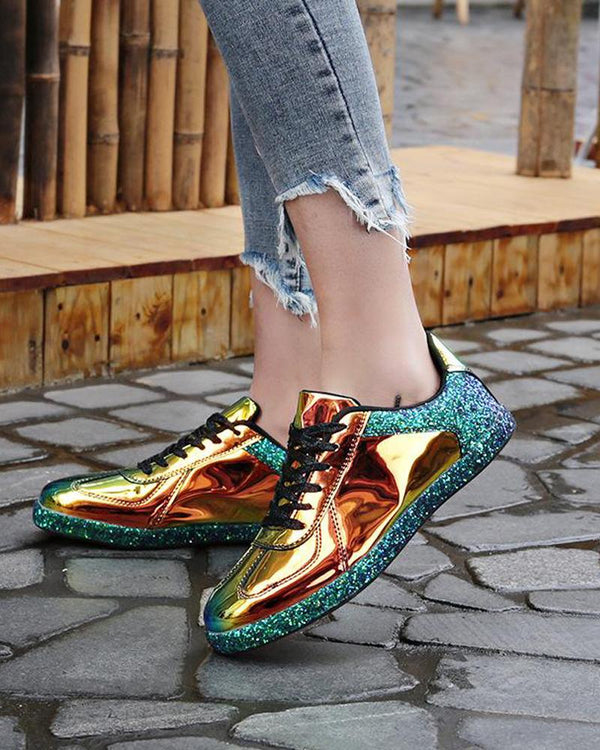 Sequined Neon Reflection Lace-Up Sneaker