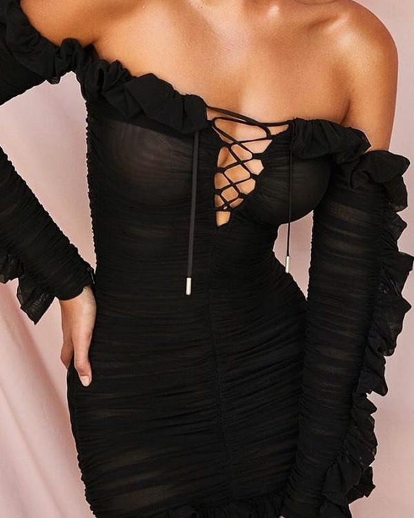 Off Shoulder Ruffle Hem Dress
