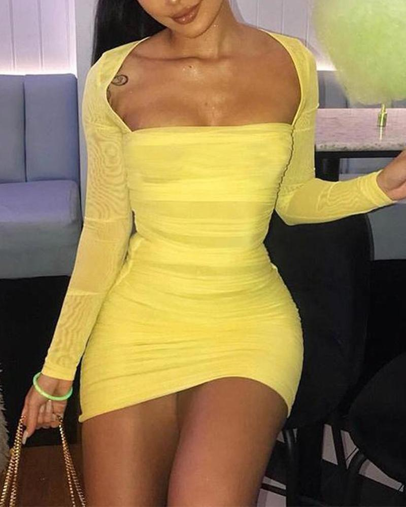 Yellow Low Cut Square Neck Dress