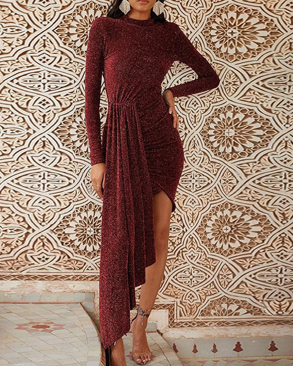 Mock Neck Sequined Asymmetric Dres