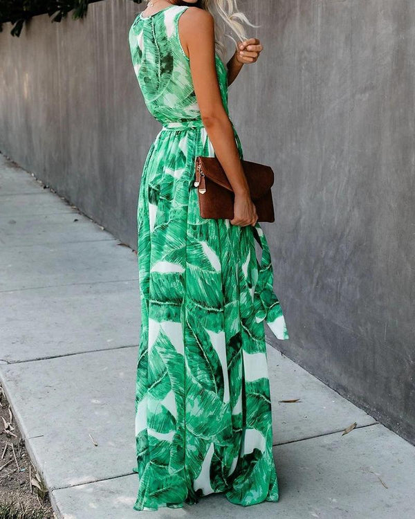Leaves Print Sleeveless V Neck Jumpsuit