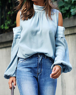 Solid Cold Shoulder Casual Blouse
