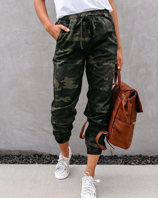 Camouflage Paperbag Waist Tie Pants