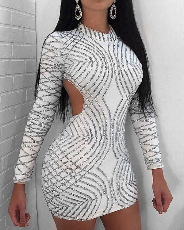 Sexy Open Back Sequined Mini Dress