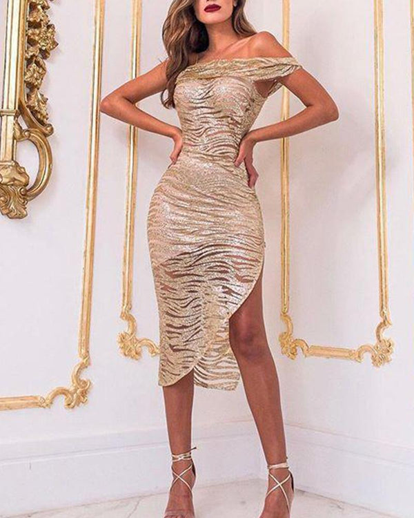 One Shoulder Asymmetric Sequined Dress