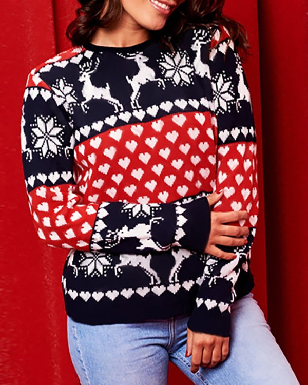 Christmas Mixed Print Colorblock Ugly Sweater