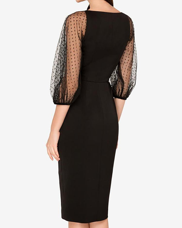 Mesh & Dots Sleeve Single Breasted Dress
