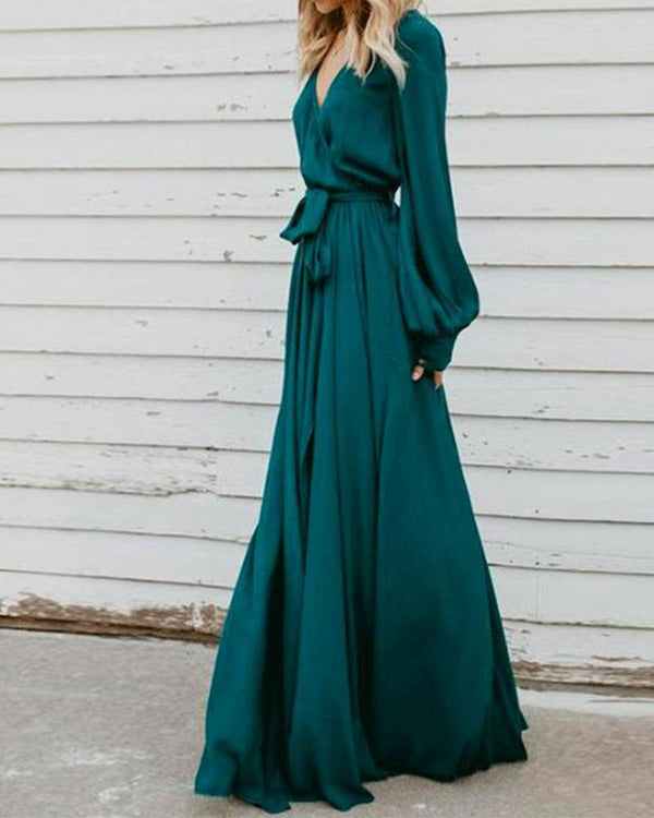 V-neck Long Sleeves Belted Solid Maxi Dress