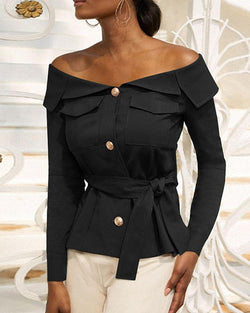 Off Shoulder Button Front Top