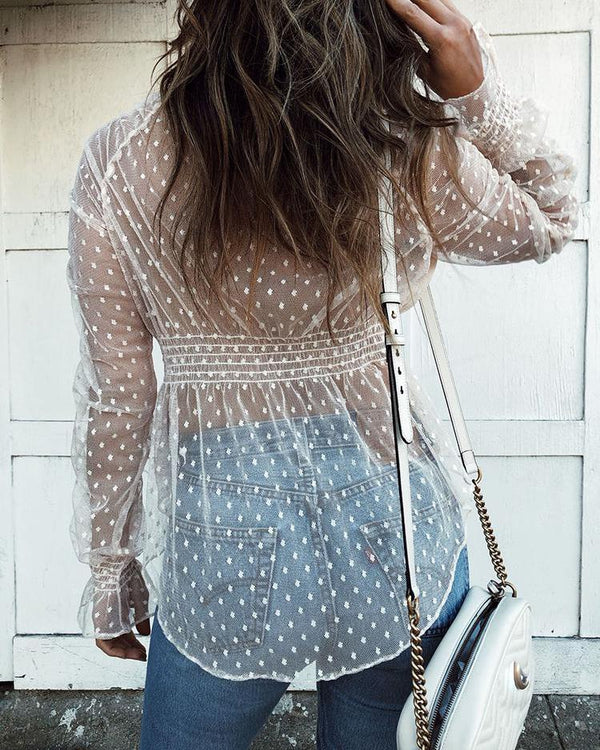 Sheer Dots Bell Sleeve Blouse