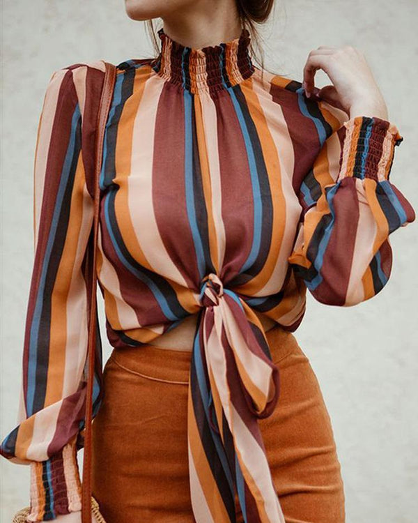 Striped Shirring Neck & Cuff Knotted Blouse