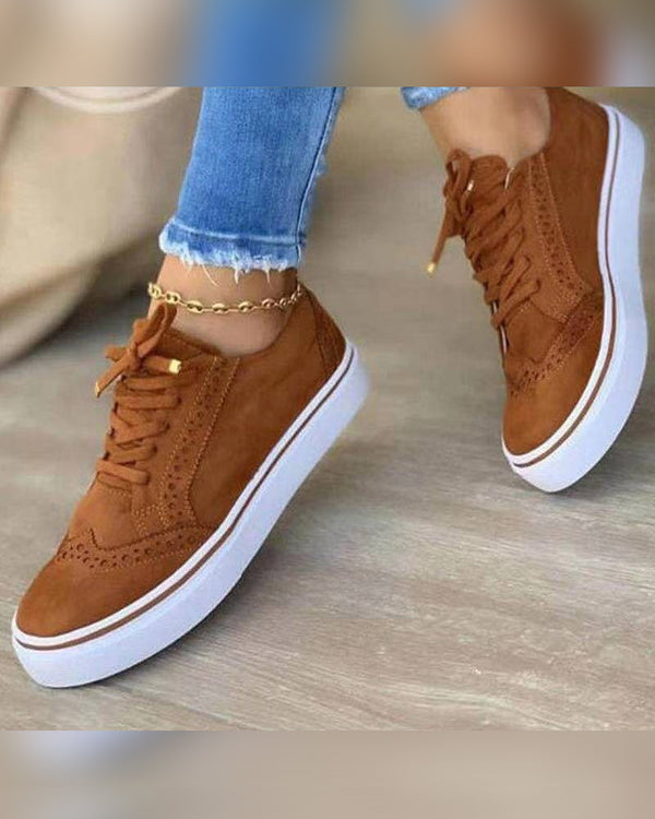 Round-toe Solid Color Lace-up Suede Sneakers