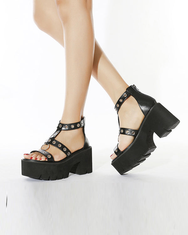 Solid Studded Banded Open-toe Sandals