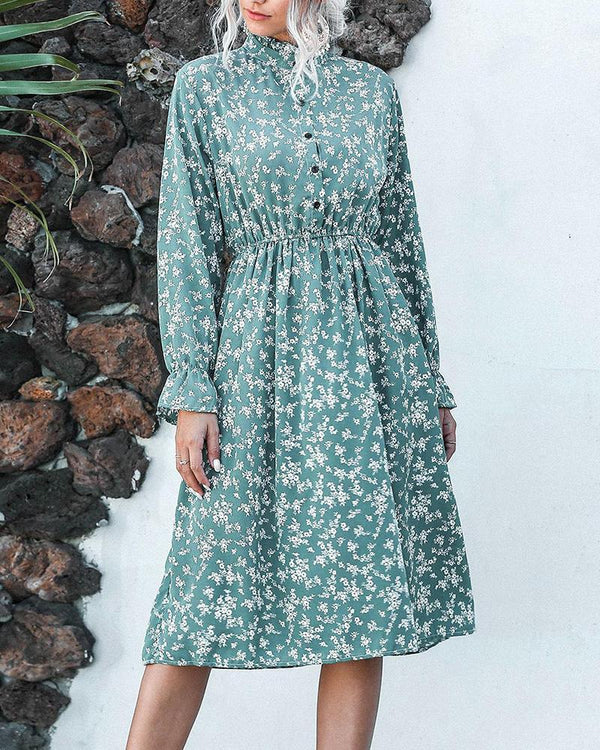 Stand Collar Button Floral Print Dress