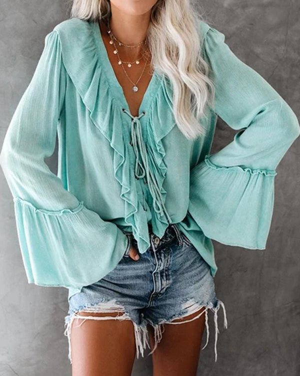 Long-Sleeved V-Neck Ruffled Fashion Bottoming T-shirt
