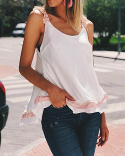 Frills Lace Strap Bowknot Back Casual Blouse