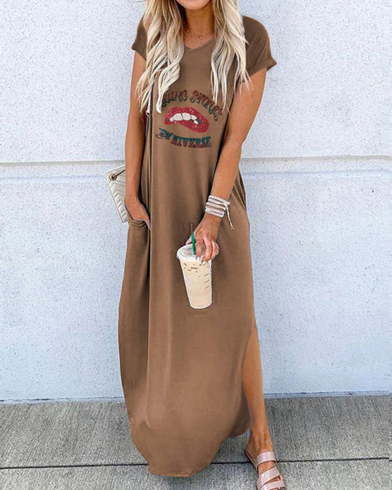 Lip Letter Print V-neck Slit Casual Dress