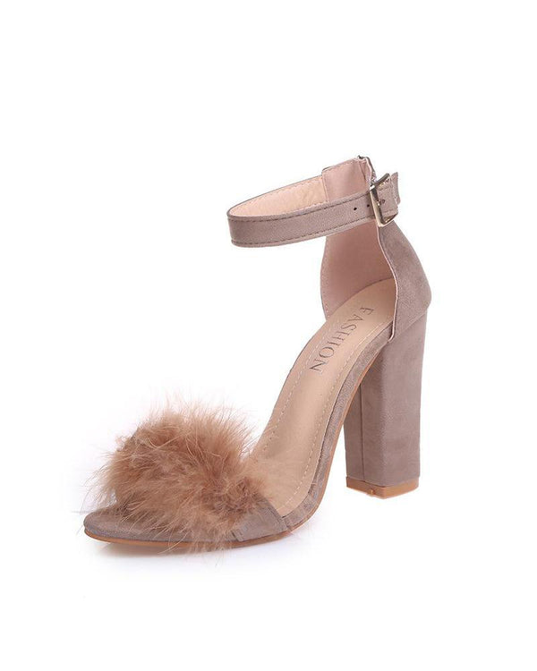 Faux Fur Trim Chunky Heel Sandals