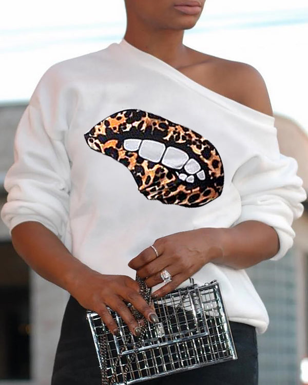 Mouth Print Long Sleeve T-Shirt