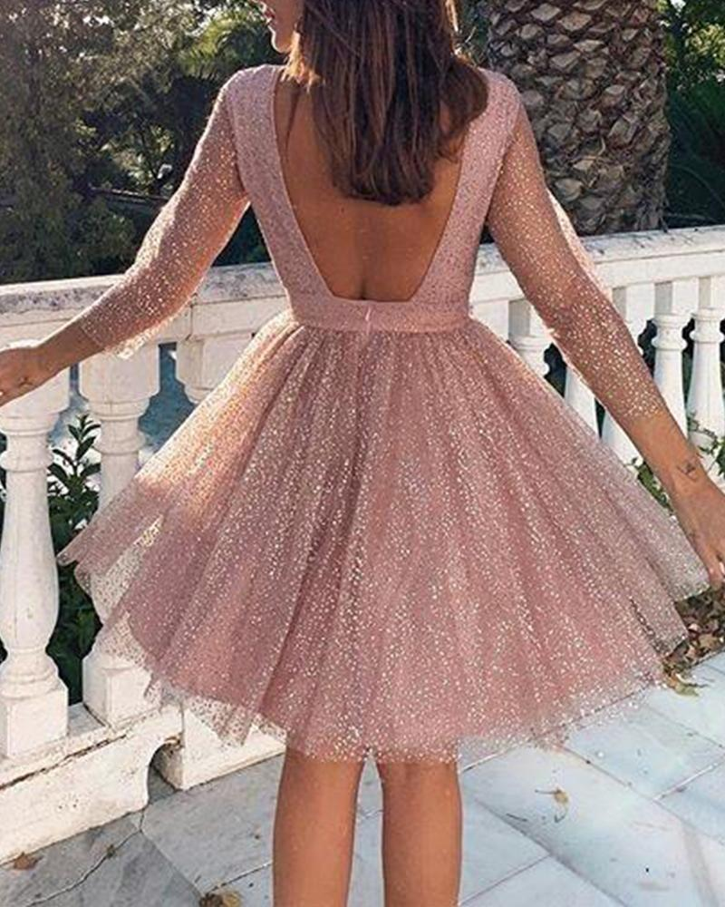 Glitter Backless A-Line Dress