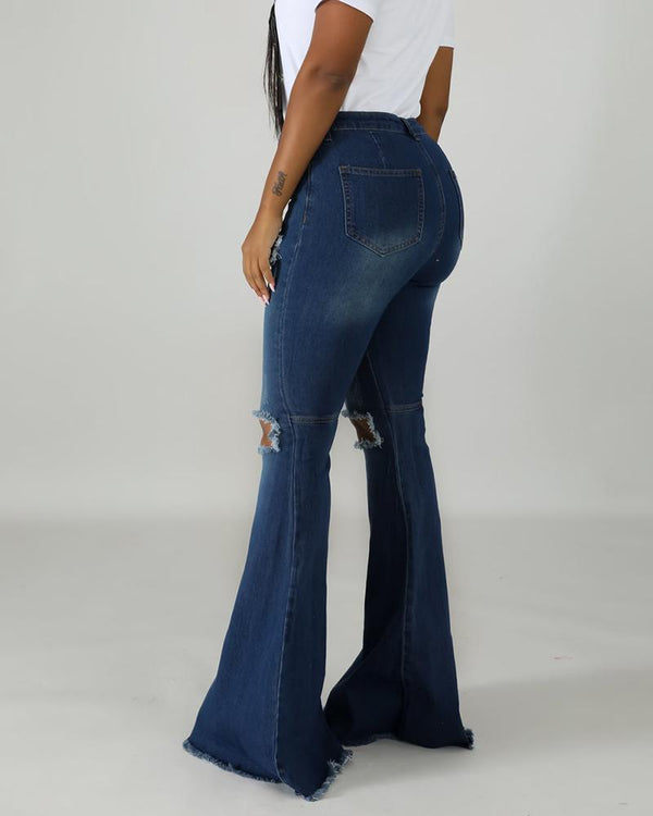 Denim Fringes Distressed Bell Bottom Jeans