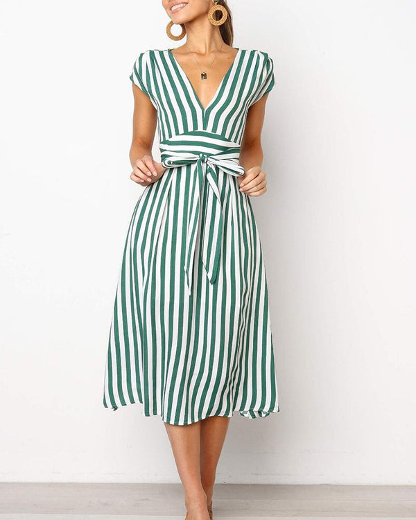 Striped V-Neck Tie Waist Midi Dress