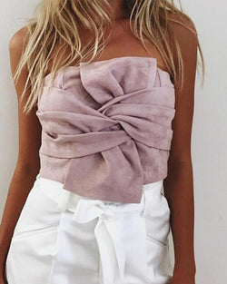 Solid Twist Front Tube Top