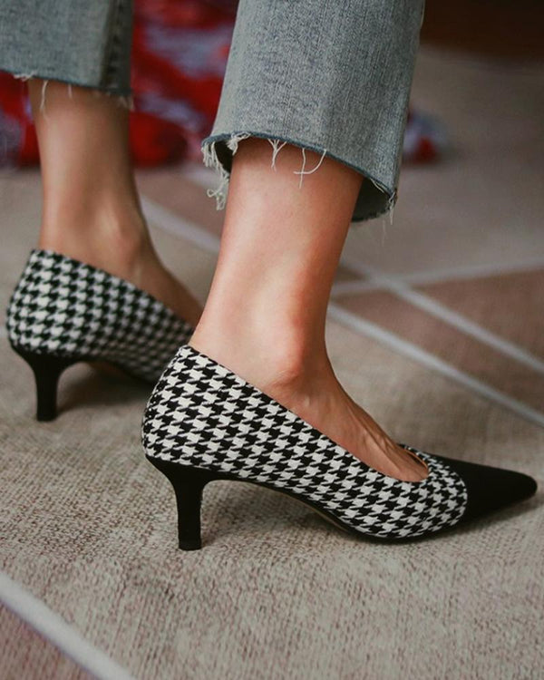 Pointed-toe Stitching high heels