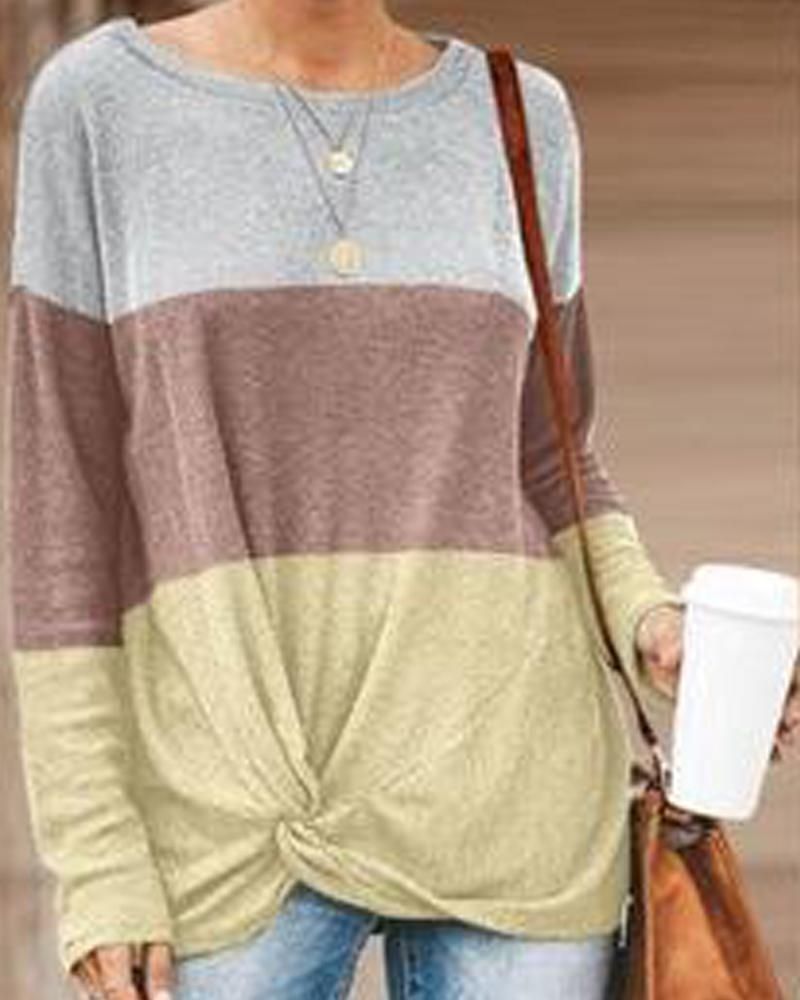 Crew Neck Colorblocks Knit T-Shirt