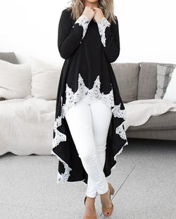 Lace Trim Long Sleeve Dip Hem Blouse