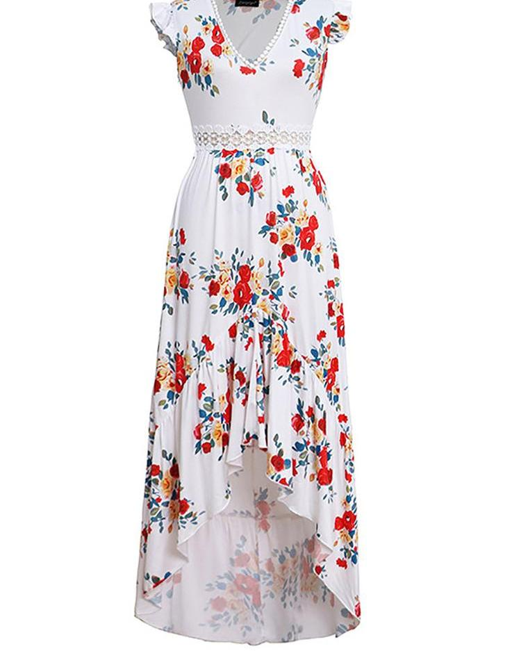 Summer Sexy V-Neck Sleeveless Floral Print Irregular Long Dress