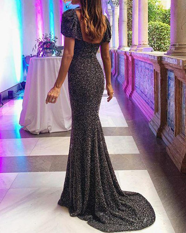 Backless Embellished Maxi Dress
