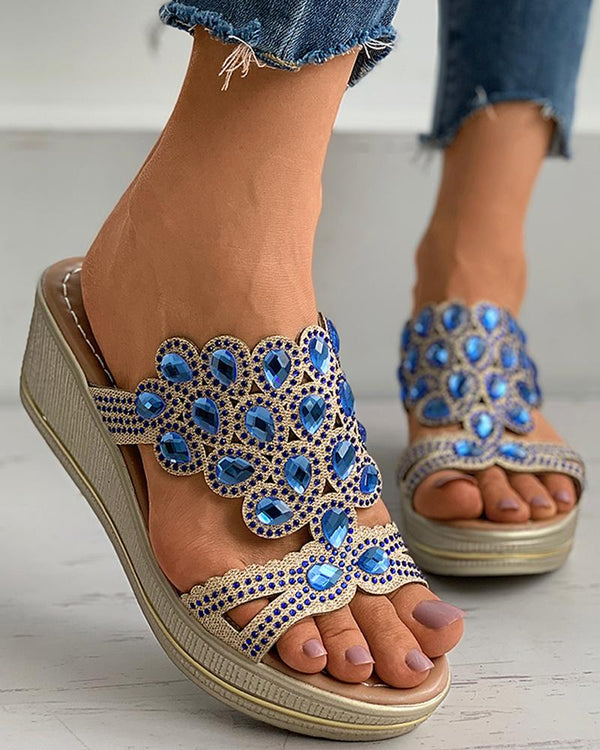 Cutout Rhinestone Peep Toe Wedge Sandals