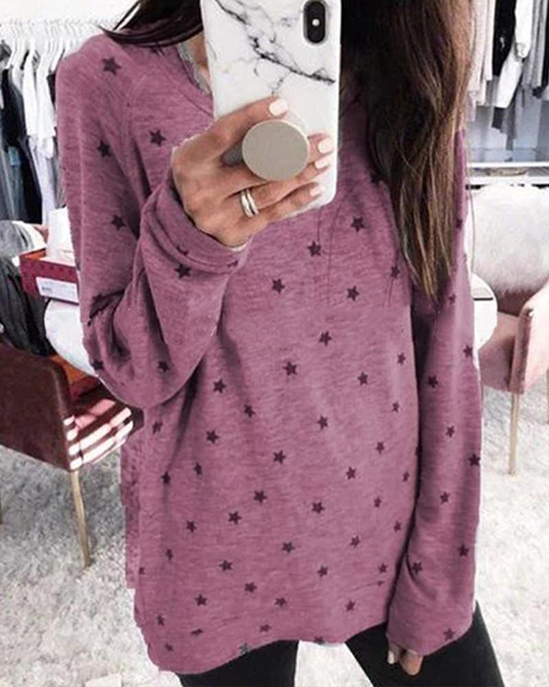 Oversized Long Sleeve Star Print Top