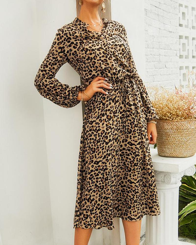 Leopard Print Midi Shirt Dress