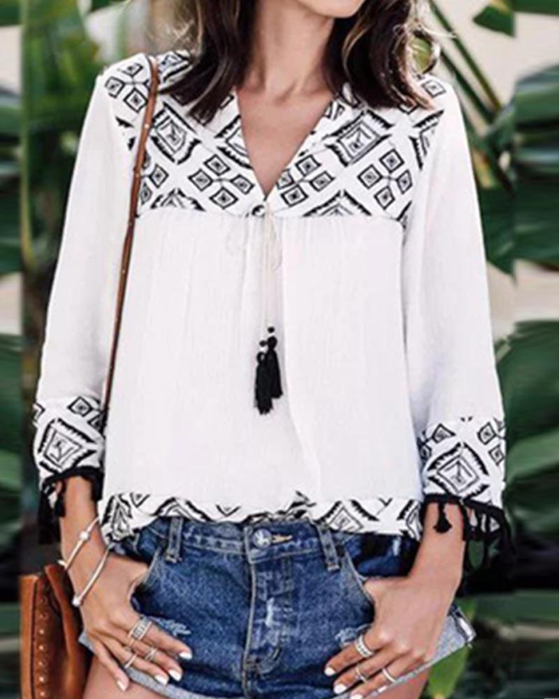 Cotton and linen shirt nine-point sleeve printed stitching Blouse
