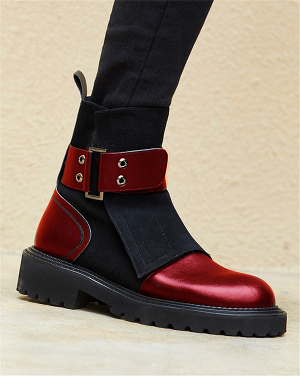 Belted Faux Leather Biker Boots