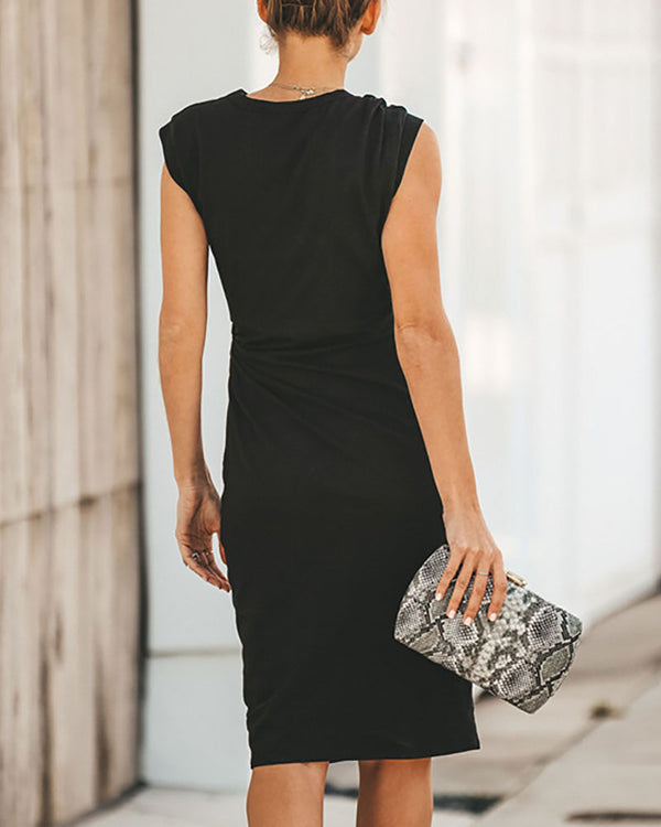 Irregular O-Neck Sleeveless Dress