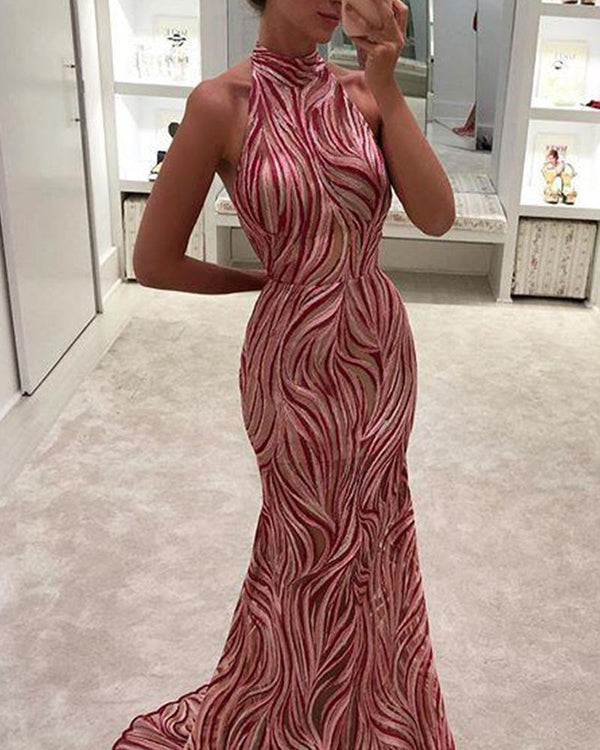 Halter Neck Sleeveless Maxi Dress