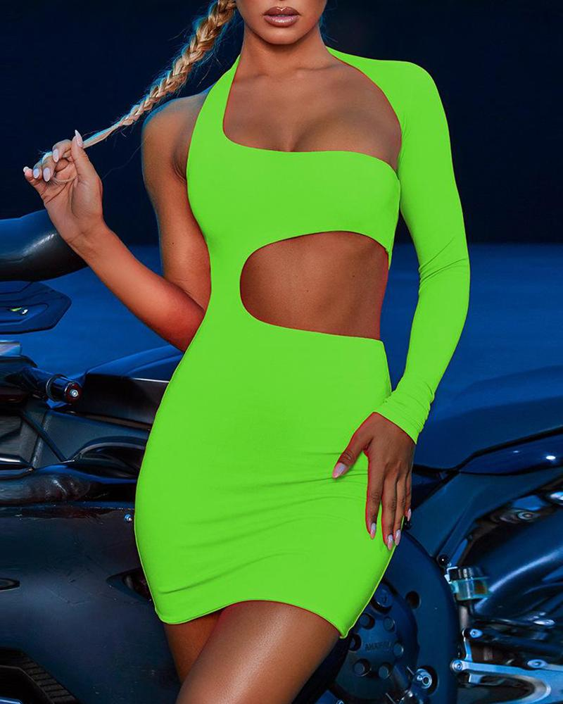 One Shoulderr Cut Out Bodycon Dress