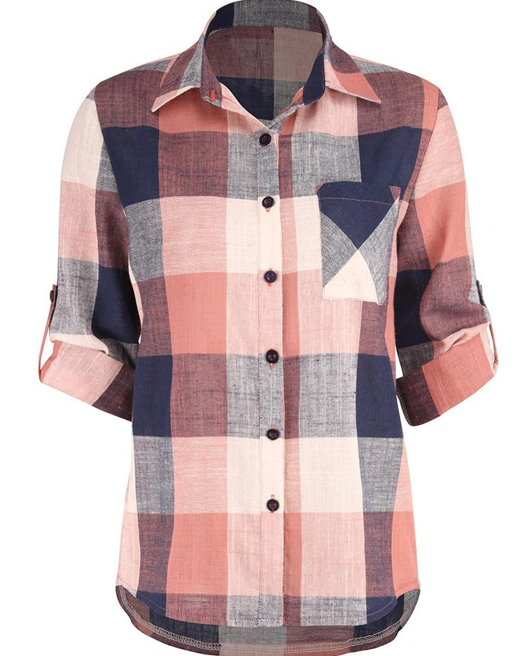 Plaid Print Long Roll-Up Sleeve Casual Blouse