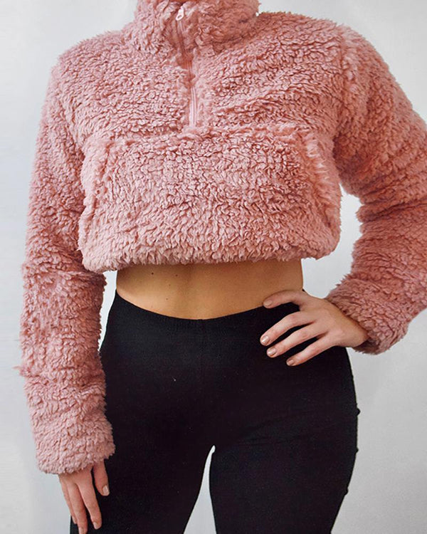 Solid Zipped Pocket Teddy Sweater