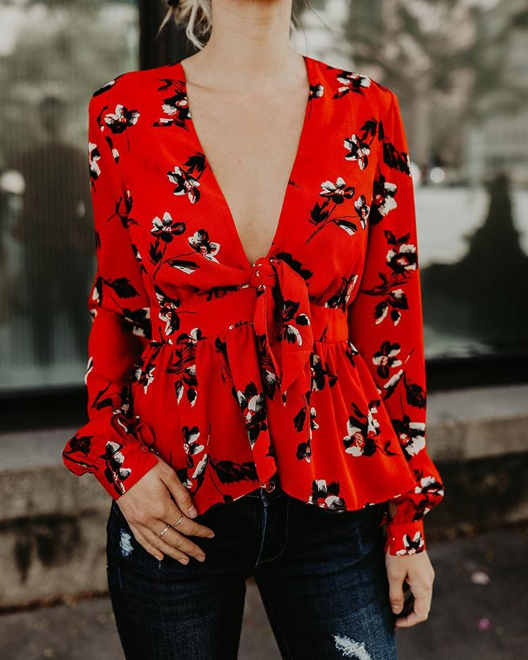 Floral Print Plunge Tied Waist Blouse